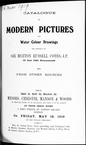 Catalogue of modern pictures and water colour drawings [...] : [vente du 16 mai 1919]
