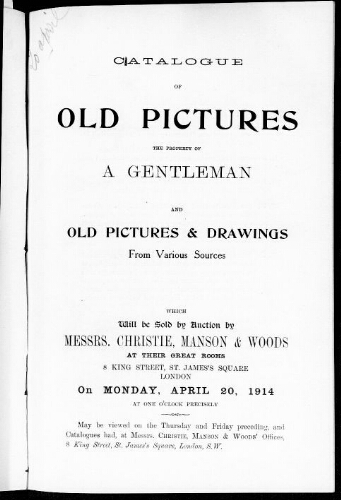 Catalogue of old pictures [...] : [vente du 20 avril 1914]