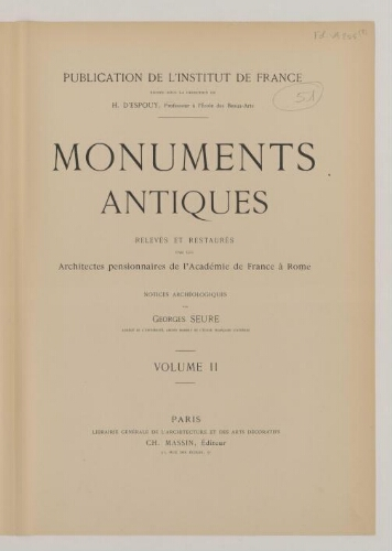 Monuments antiques […]. Tome 2 : Rome