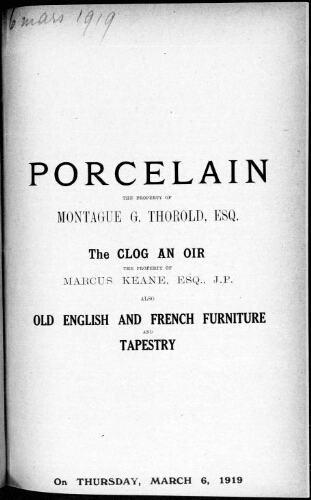 Catalogue of porcelain [...] : [vente du 6 mars 1919]