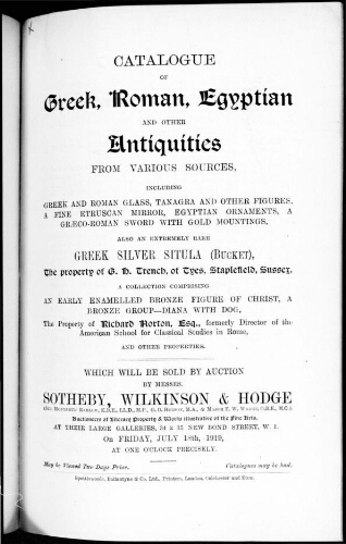 Catalogue of Greek, Roman, Egyptian and other antiquities [...] : [vente du 18 juillet 1919]
