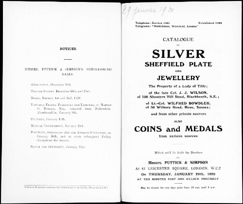 Catalogue of silver Sheffield plate and jewellery the property of a lady of title [...] : [vente du 29 janvier 1920]