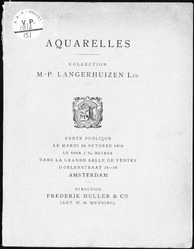 Aquarelles, collection M. -P. Langerhuizen Lzn […] : [vente du 29 octobre 1918]