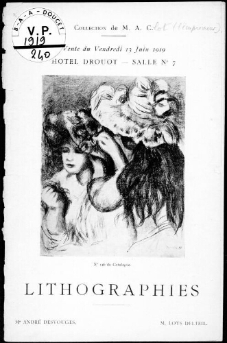 Catalogue des lithographies [...] : [vente du 13 juin 1919]