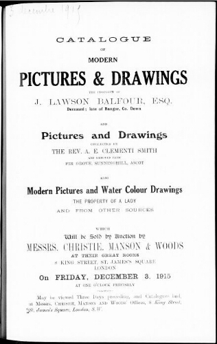Catalogue of modern pictures and drawings […] : [vente du 3 décembre 1915]