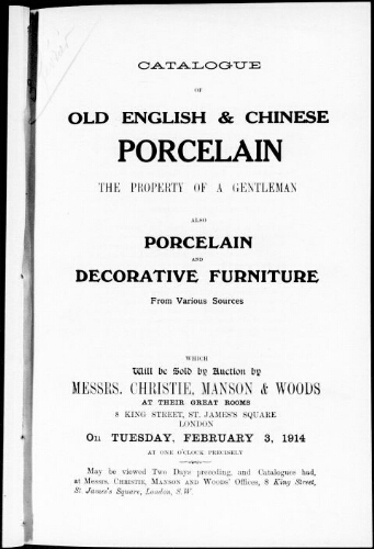 Catalogue of old English and Chinese porcelain [...] : [vente du 3 février 1914]