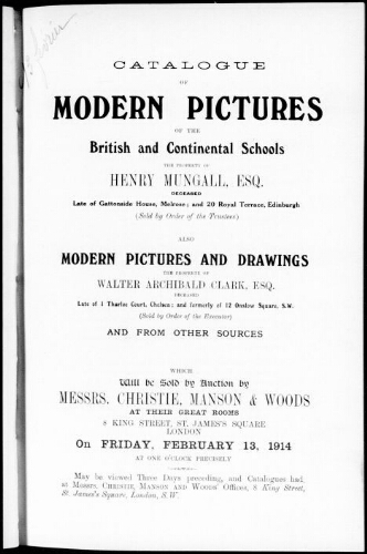 Catalogue of modern pictures of the British and continental schools [...] : [vente du 13 février 1914]