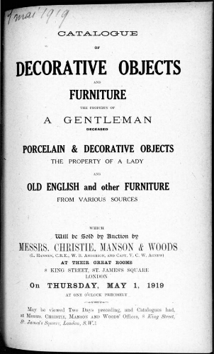 Catalogue of decorative objects and furniture [...] : [vente du 1er mai 1919]