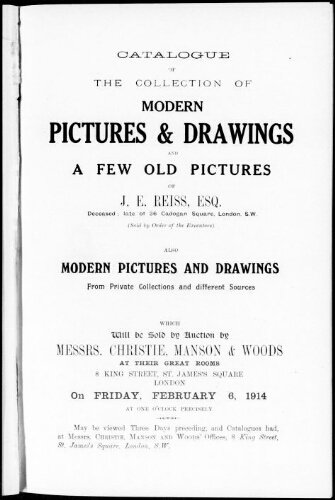 Catalogue of the collection of modern pictures and drawings and a few old pictures of J. E. Reiss, esq. [...] : [vente du 6 février 1914]