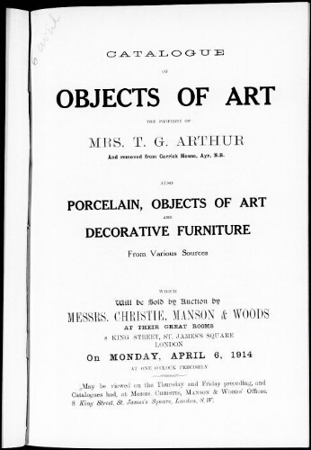 Catalogue of objects of art [...] : [vente du 6 avril 1914]