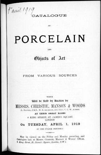 Catalogue of porcelain and objects of art [...] : [vente du 1er avril 1919]