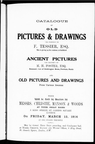 Catalogue of old pictures and drawings [...] : [vente du 13 mars 1914]