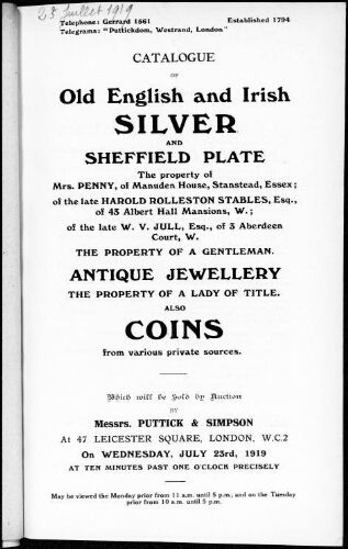 Catalogue of old English and Irish silver and Sheffield plate [...] : [vente du 23 juillet 1919]