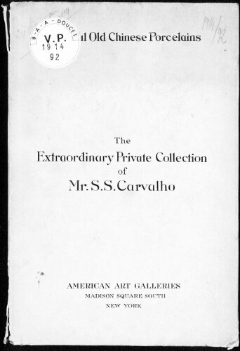 Extraordinary private collection of Mr. S. S. Carvalho of New York [...] : [vente du 24 février 1914]