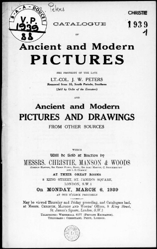 Catalogue of ancient and modern pictures […] : [vente du 6 mars 1939]