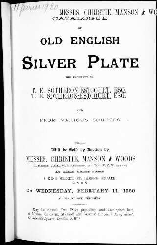 Catalogue of old english silver plate [...] : [vente du 11 février 1920]