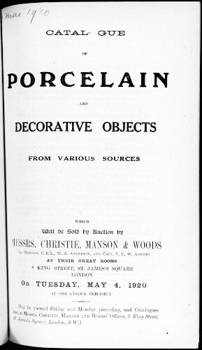Catalogue of porcelain and decorative objects [...] : [vente du 4 mai 1920]