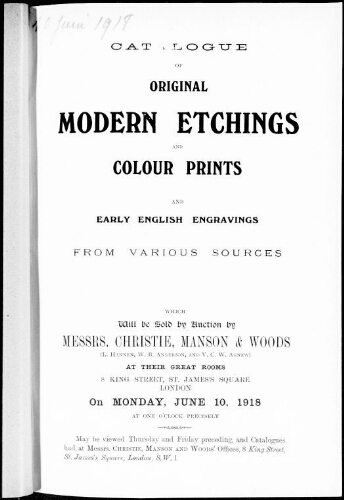 Catalogue of original modern etchings and colour prints […] : [vente du 10 juin 1918]