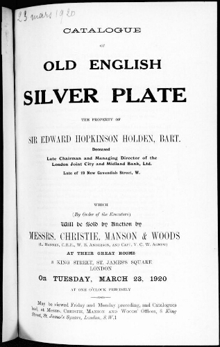 Catalogue of old english silver plate [...] : [vente du 23 mars 1920]