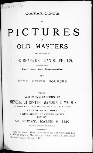 Catalogue of pictures by old masters, the property of H. de Beaumont Randolph [...] : [vente du 5 mars 1920]