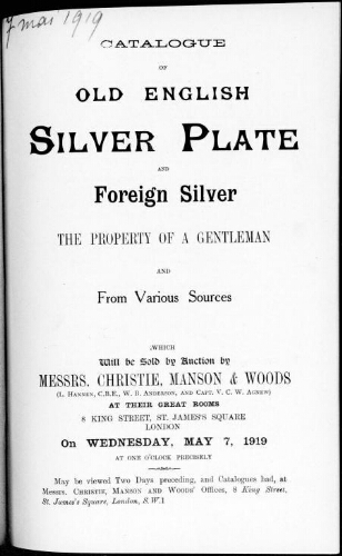 Catalogue of old English silver plate and foreign silver [...] : [vente du 7 mai 1919]