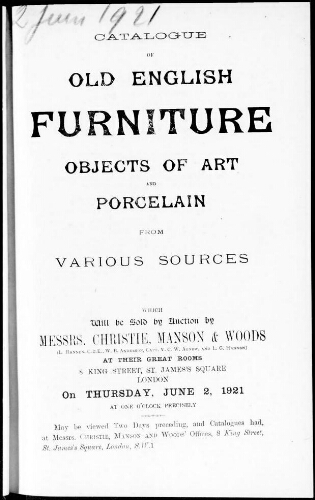 Catalogue of old English furniture, objects of art and porcelain from various sources : [vente du 2 juin 1921]