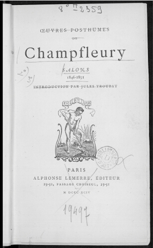 Oeuvres posthumes de Champfleury : Salons 1846-1851
