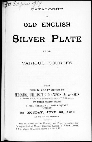 Catalogue of old English silver plate [...] : [vente du 30 juin 1919]