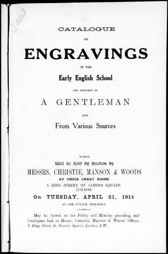 Catalogue of engravings of the early English school [...] : [vente du 21 avril 1914]