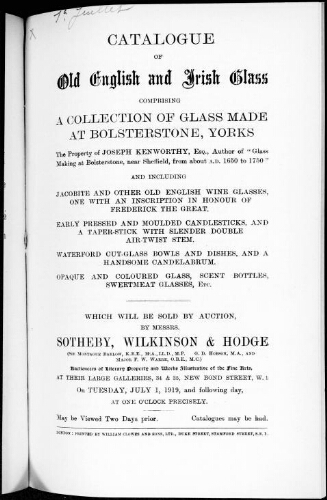 Catalogue of old English and Irish glass [...] : [vente du 1er juillet 1919]