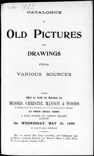 Catalogue of old pictures and drawings from various sources [...] : [vente du 31 mai 1922]