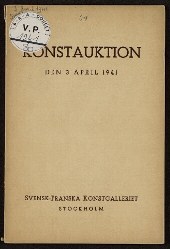 Konstauktion den 3 april 1941 : [vente du 3 avril 1941]