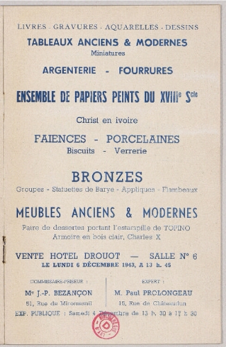 Livres Gravures Aquarelles Dessins Vente Du 6 Decembre 1943