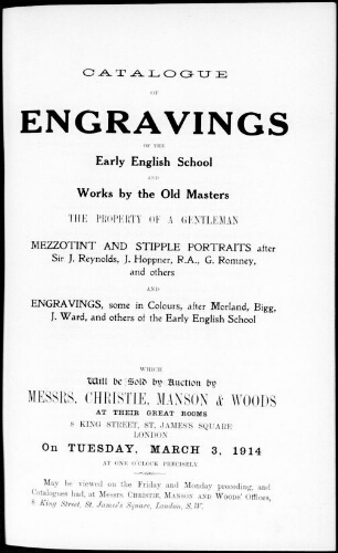 Catalogue of engravings of the early English school and works by the old masters [...] : [vente du 3 mars 1914]