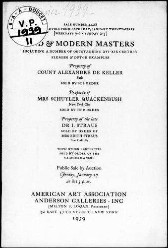 Old and modern masters including a number of outstanding XVI-XIX century Flemish and Dutch examples […] : [vente du 27 janvier 1939]