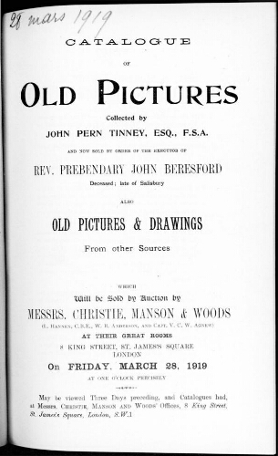 Catalogue of old pictures [...] : [vente du 28 mars 1919]
