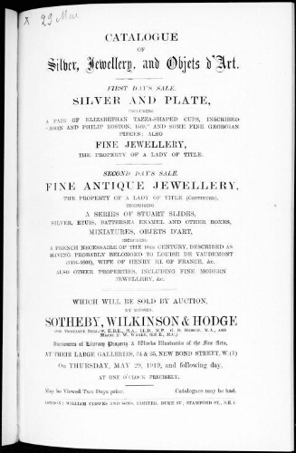 Catalogue of silver, jewellery, and objets d'art [...] : [vente du 29 mai 1919]