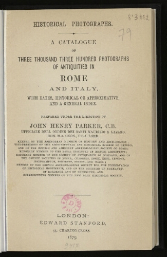 Historical photographs : A catalogue of three thousand three hundred photographs of antiquities in Rome and Italy [...]