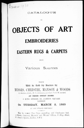 Catalogue of objects of art [...] : [vente du 2 mars 1920]