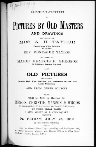 Catalogue of pictures by old masters and drawings [...] : [vente du 25 juillet 1919]