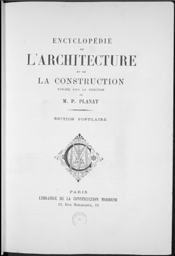 Encyclopédie de l'architecture et de la construction. ES - GO