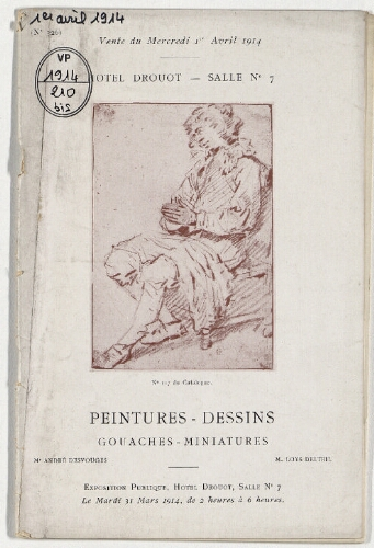 Catalogue des peintures, gouaches, dessins et miniatures [...] : [vente du 1er avril 1914]