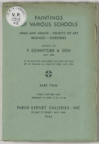 Property of F. Schnittjer and Son [...], Paintings of various schools [...]. Part 2 : [vente des 10 et 11 février 1943]