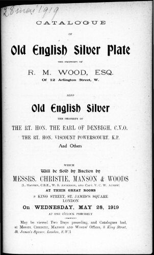 Catalogue of old English silver plate [...] : [vente du 28 mai 1919]