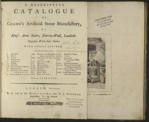 Descriptive catalogue of Coade's Artificial Stone Manufactory [...]