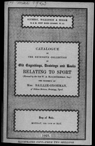Catalogue of the extensive collection of old engravings, drawings and books relating to sport [...] : [vente du 14 mai 1923]