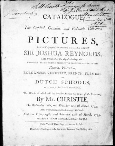 Catalogue of the capital, genuine, and valuable collection of pictures, late the property of that eminently distinguished artist Sir Joshua Reynolds [...] : [vente du 13 mars 1795]