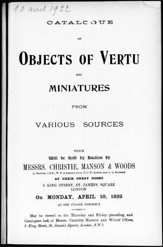 Catalogue of objects of vertu and miniatures from various sources [...] : [vente du 10 avril 1922]