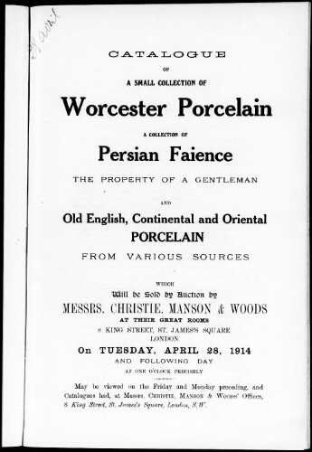 Catalogue of a small collection of Worcester porcelain [...] : [vente du 28 avril 1914]