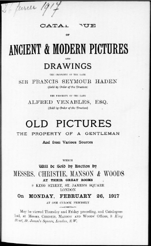 Catalogue of ancient and modern pictures and drawings […] : [vente du 26 février 1917]